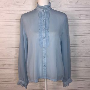 Vintage size L sheer light blue blouse
